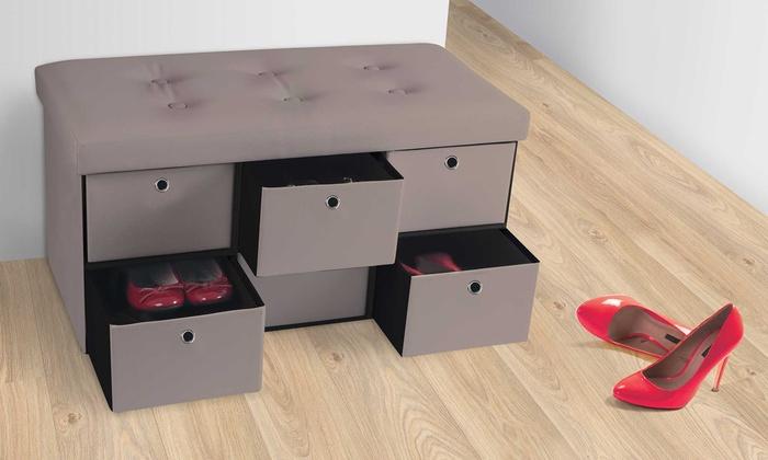 jusqu 39 60 banc de rangement avec tiroirs groupon. Black Bedroom Furniture Sets. Home Design Ideas