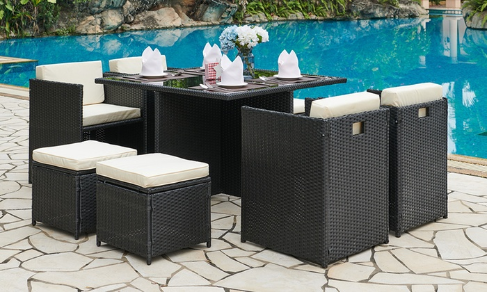 Nine-Piece Cube Rattan-Effect Dining Set in Choice of Colour with Optional Cover