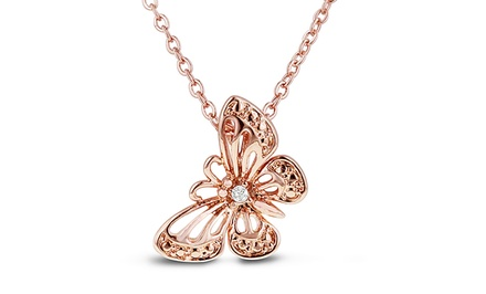 1/100 CT Diamond Filigree Butterfly Necklace