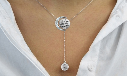 Engraved To The Moon And Back Y Necklace made with Swarovski Elements