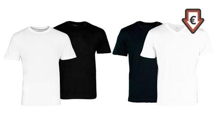 2er-Pack oder 4er-Pack Tom Tailor T-Shirts in Schwarz oder Weiß