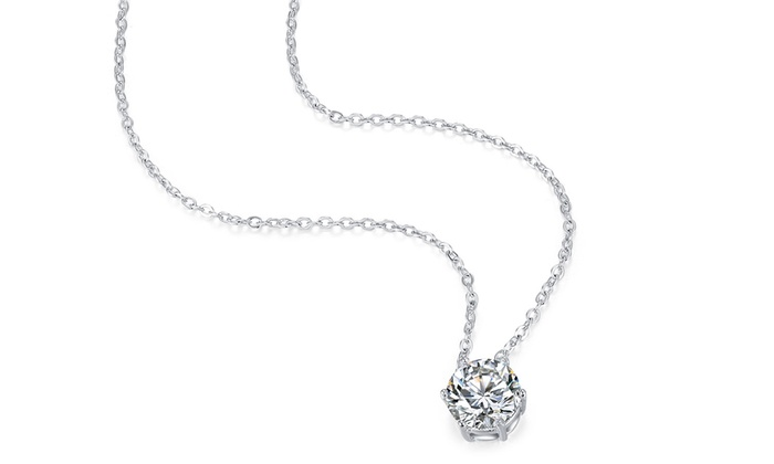 64ae9179876 Crystal 4 CTTW Solitaire Pendant made With Swarovski Elements