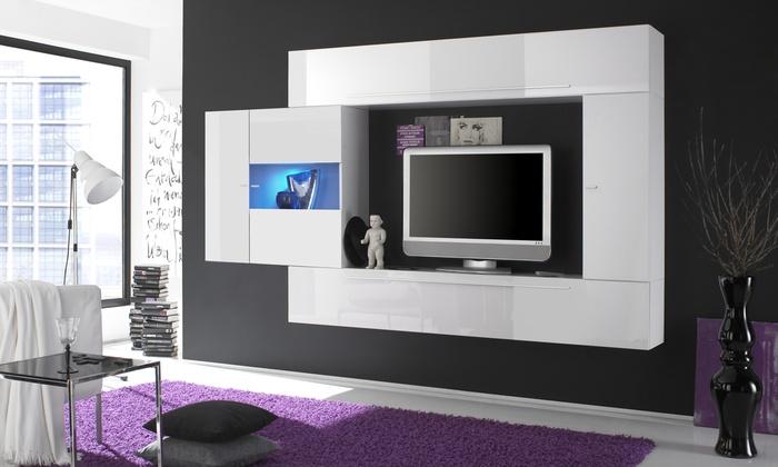Parete da soggiorno o mobile per tv groupon goods for Mobili soggiorno particolari