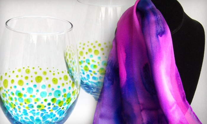 Art & Soul Gallery Studio - Windsor: Wine Lover's Night Out Glass-Painting Class or Girl's Night Out Scarf-Decorating Class at Art & Soul Gallery Studio in Windsor