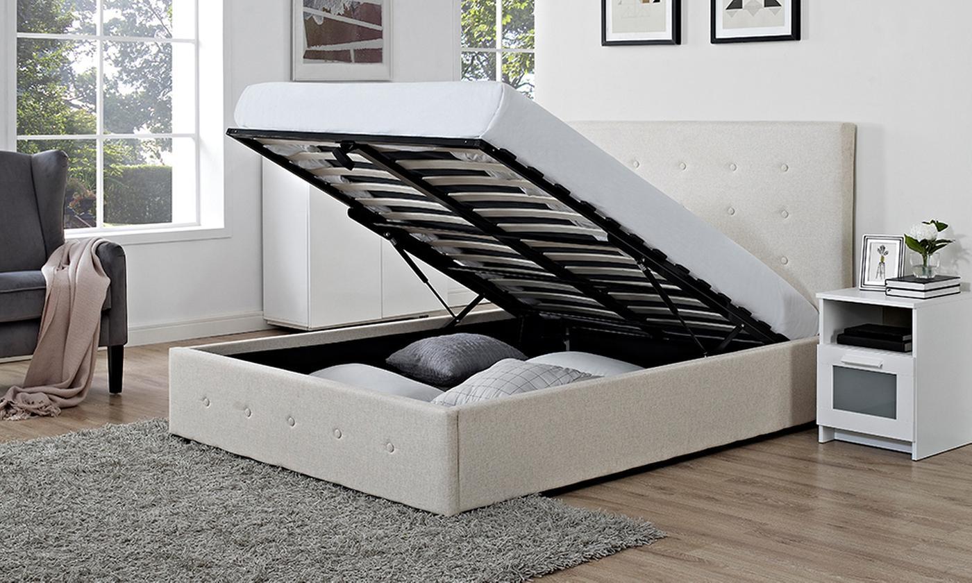 Verona Fabric Storage Ottoman Bed with Optional Mattress (£359)