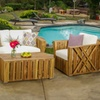 Castlegate Natural Stained Wood Patio Set with Cushions (4-Piece)