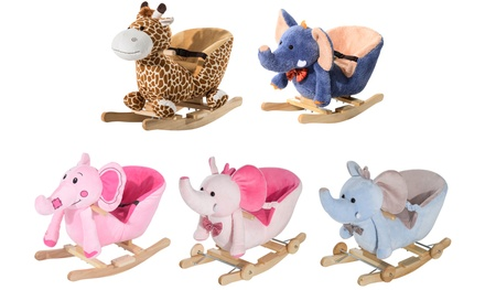 HOMCOM Kids' Plush Rocking Horse RideOn Toy