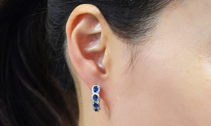 925 Sterling Silver Rhodium-plated Heart Created Sapphire September Stone Stud Post Earrings