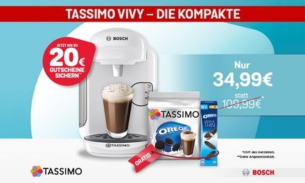 TASSIMO Oreo Paket: TASSIMO VIVY + 20 € Gutscheine, Oreo Kekse und T DISCs TASSIMO Oreo inkl. Versand (68% sparen*)
