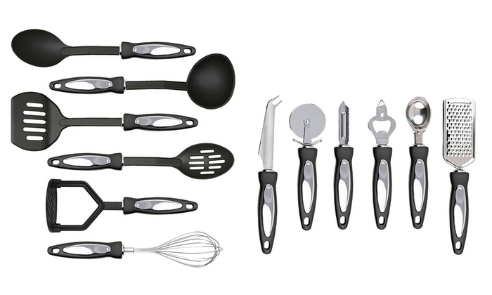 12-Piece Stainless Steel Cooking Utensil Set with Nylon Handles From £8.98