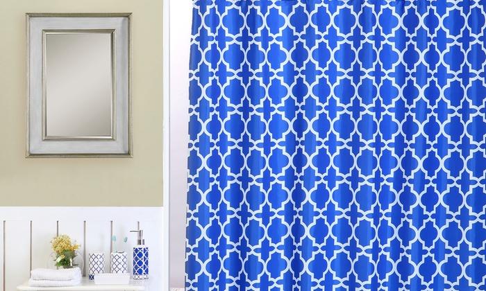 royal blue lattice bathroom accessories set 18 piece groupon. Black Bedroom Furniture Sets. Home Design Ideas