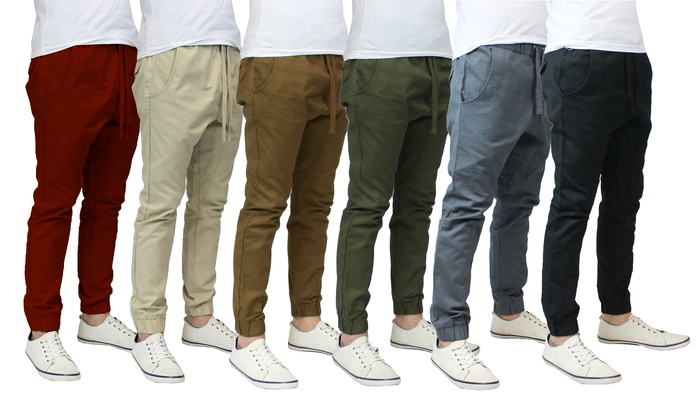 62% Off on Men's Cotton Twill Jogger Pants | Groupon Goods