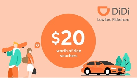 $5 2 x $10 Credit to Spend on Two First Rides with DiDi New Customers Only