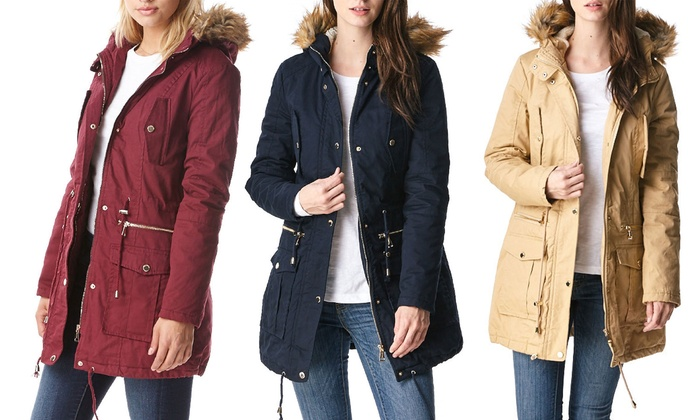 Women's Sherpa-Lined Cotton Parka Jacket with Hood | Groupon