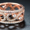 18K Rose Gold Plated Cubic Zirconia Infinity Swirl Ring by Barzel
