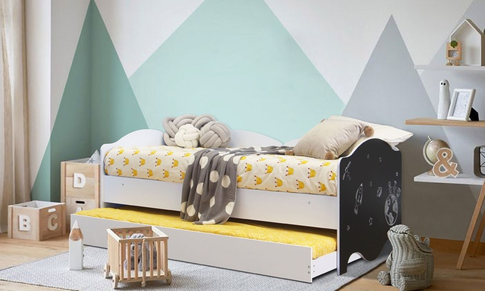Kids' Day Bed with Chalkboard with Optional Two 5″ Spring Mattresses (£190)
