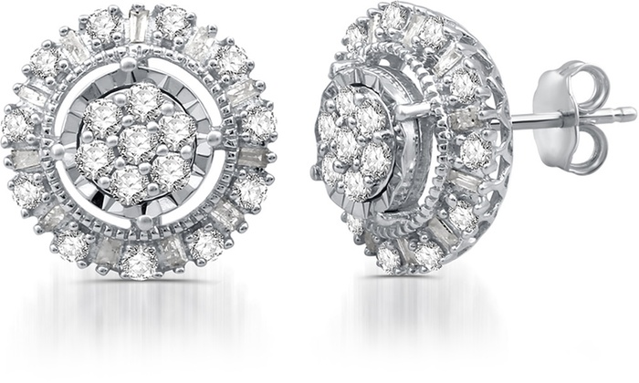 1 00 Cttw Diamond Round Stud Earrings In Sterling Silver By Decarat