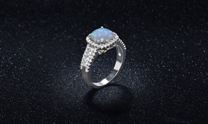 White Fire Opal Cushion Cut Halo Ring by Valencia Gems
