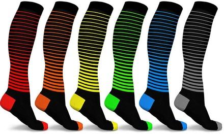 DCF Unisex Ombre Stripe Compression Socks (6-Pack)