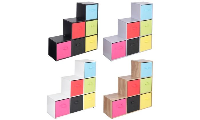 Six-Cube Step Storage Shelf Unit