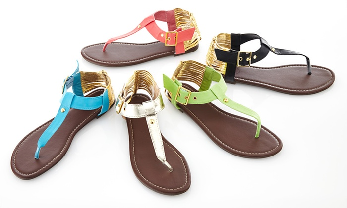 Carrini Thong Sandals: $17.99 for Carrini Thong Sandals ($40 List Price). 5 Colors Available. Free Shipping and Returns.