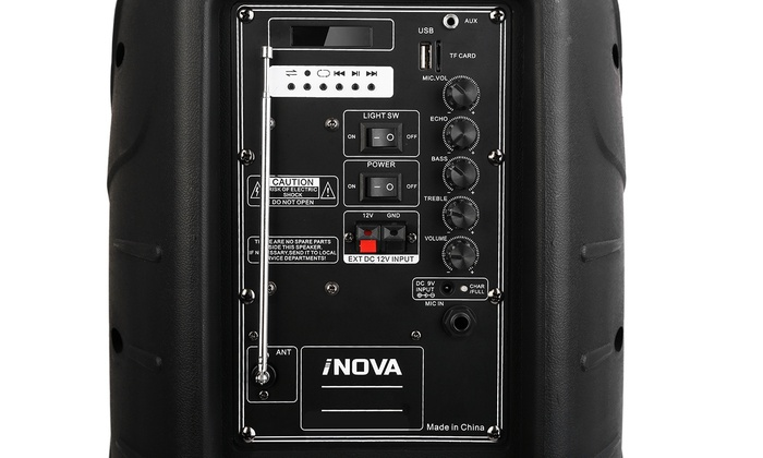 "NEW 12/"" SUBWOOFER BLUETOOTH PORTABLE SPEAKER SYSTEM KARAOKE LIGHT MIC USB//SD//AUX"