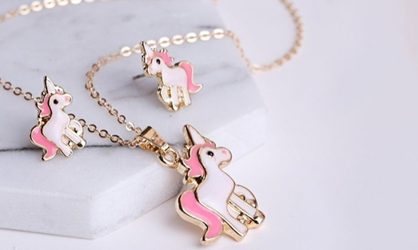 One or Two Unicorn Necklace and Earrings Sets