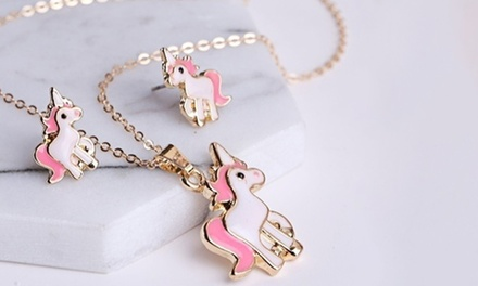 Unicorn Necklace and Earrings Set