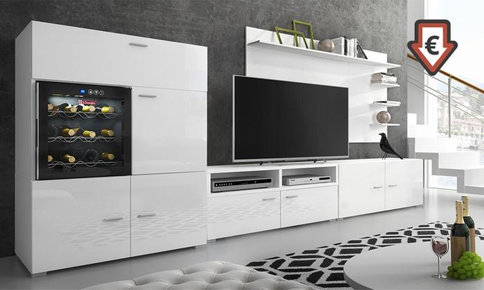 Mueble tv con vinoteca denis groupon for Muebles para vinotecas