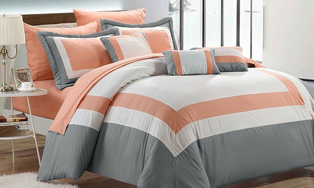10 Piece Modern Comforter Set Including Sheets in Choice of Colours, Queen ($95) or King ($89)