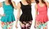 Women's Plus-Size Sleeveless Peplum Blouses: Women's Plus-Size Sleeveless Peplum Blouses