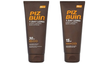 Two Piz Buin SPF15 or SPF30 One Day Long Sunscreen Lotions 100ml
