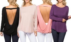 Style Clad Women's Surplice Open-Back Wrap Top