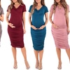Women's Cowl Neck Ruched Maternity Dress