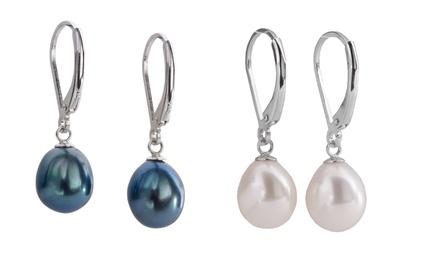 1 o 2 paia di orecchini in argento sterling con perle d'acqua dolce disponibili in 2 colori