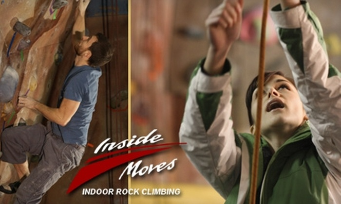 Inside Moves Indoor Rock Climbing - Byron: $38 for a First-Time-Visit Orientation and a One-Month Climbing Pass at Inside Moves Indoor Rock Climbing in Byron Center ($77 Value)