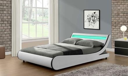 Bedframe met ledverlichting en een matras als extra optie