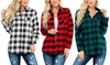 Riah Fashion Women's Sherpa Lined Plaid Flannel Shirt
