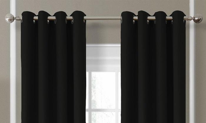 Luxe verduisterende gordijnen met ring | Groupon