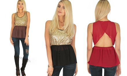 Casually Cute Women's Open-Back Sequin Top