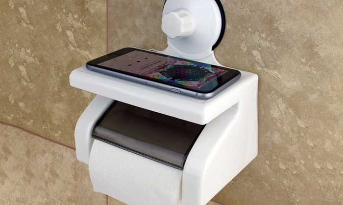 Toilet-Tissue Caddy with Phone and Book Stand
