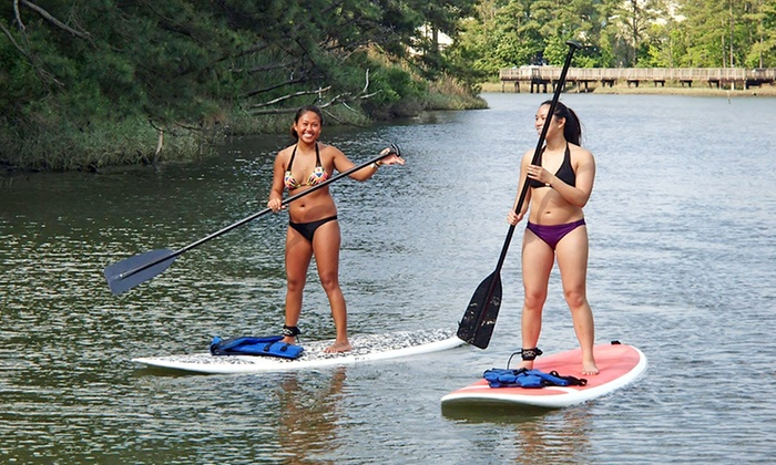 Rudee Inlet Stand Up Paddle - Virginia Beach: $49 for Standup Paddleboarding and a Dolphin Tour from Rudee Inlet Stand Up Paddle ($100 Value)