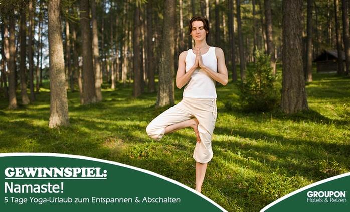 Gewinnspielteilnahme: 5 Tage Yoga-Urlaub für 1 Pers. mit veg. Bio-Vollwertbuffet und Yoga-Einheiten im Teutoburger Wald