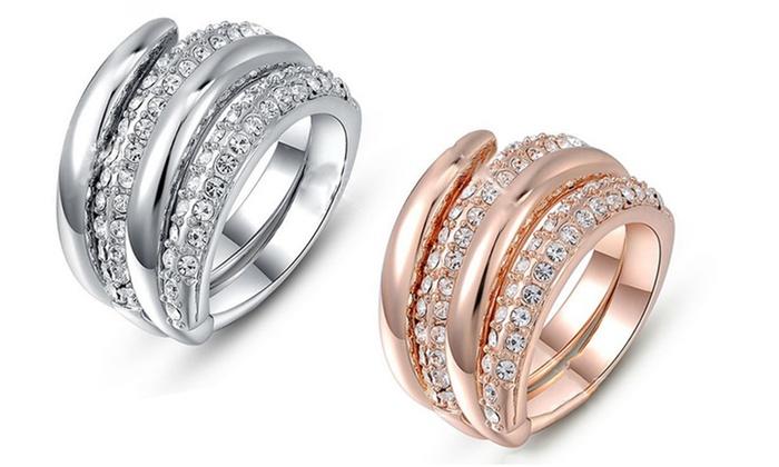 Groupon Goods Global GmbH:  Bague Obsession métal argenté ou rose doré et ornée de cristaux Swarovski®