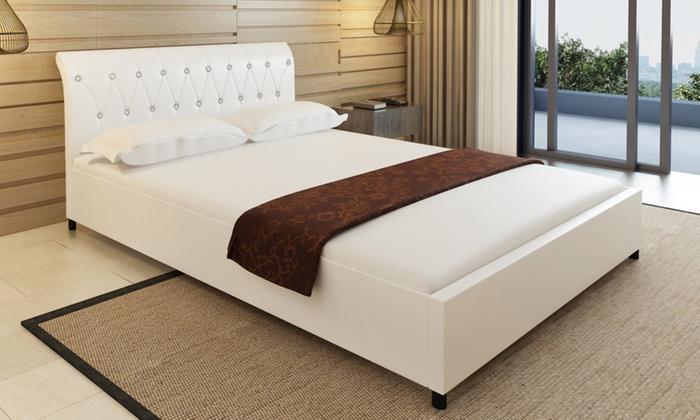 jusqu 39 30 lit capitonn en simili cuir groupon. Black Bedroom Furniture Sets. Home Design Ideas