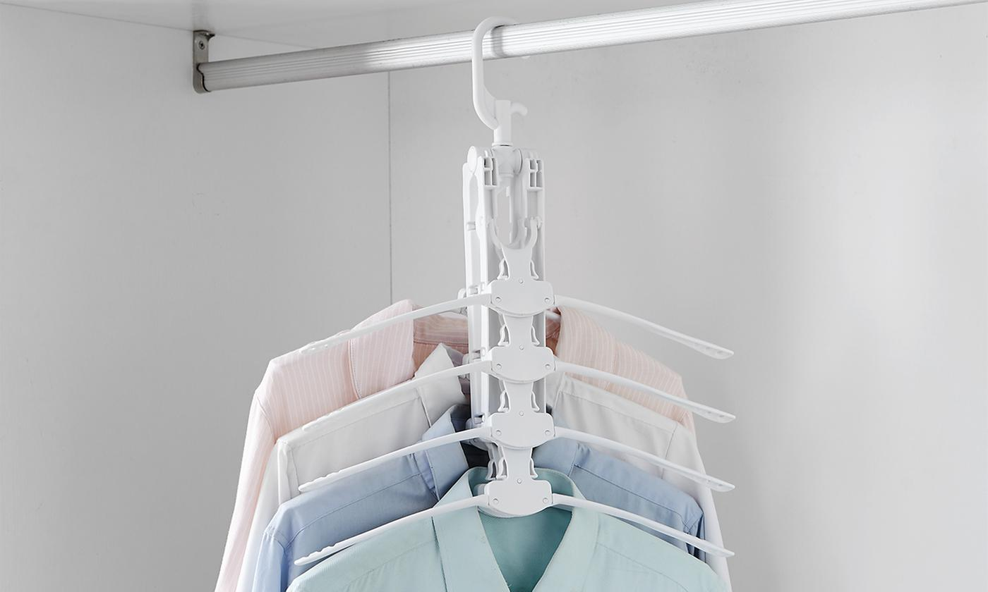 Up to Five Eight-in-One Folding Clothes Hangers with 360° Rotation