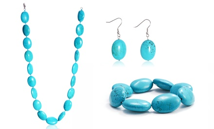 Turquoise Nugget Necklace, Bracelet, and Earrings Set. Free Returns.