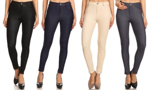Women's High Waist Soft Slimming Jeggings With 5-Pockets