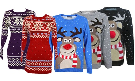Miss Lulu Christmas Jumpers in Choice of Style and Colour for £8.99