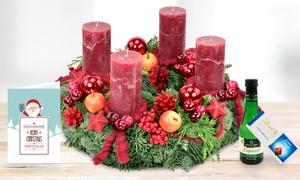Blumenhaus Ehrend: Adventskranz Ø 30 cm mit Lindt Schokolade, Grußkarte und Perlwein von Bluvesa (bis zu 34% sparen*)